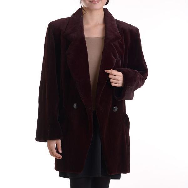 日本製シェアードミンクコート 着丈80ボルドー|auro