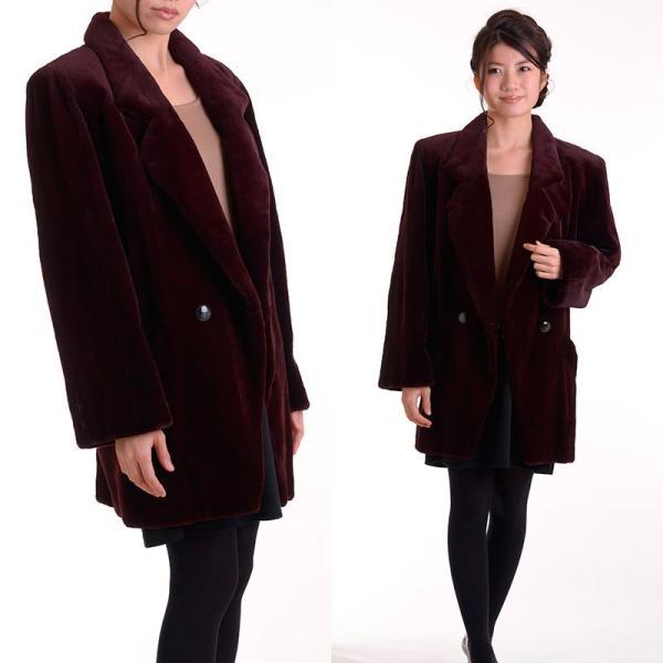日本製シェアードミンクコート 着丈80ボルドー|auro|03