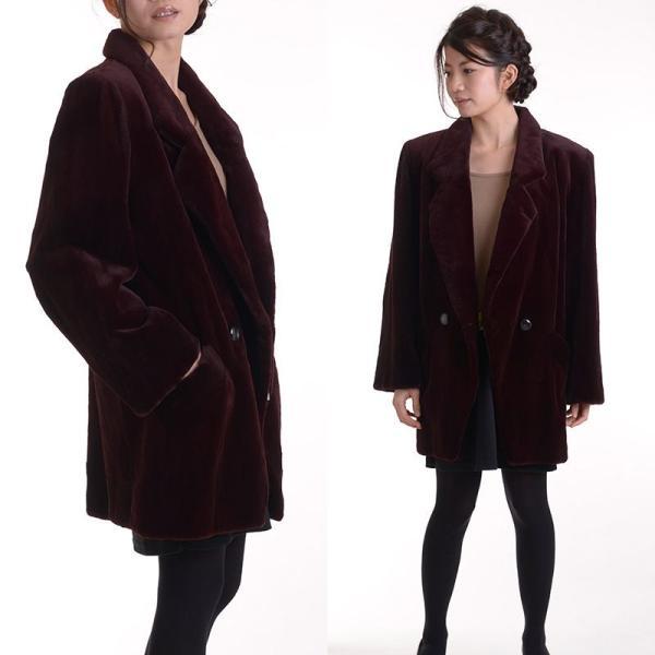 日本製シェアードミンクコート 着丈80ボルドー|auro|04