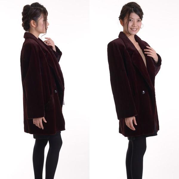 日本製シェアードミンクコート 着丈80ボルドー|auro|05