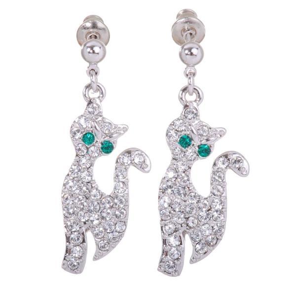 ピアス スワロフスキー シルバーキャット Swarovski Elements Crystal Lucky Cat Pierced Earrings Rhodium Authentic 7151u|aurora-and-oasis
