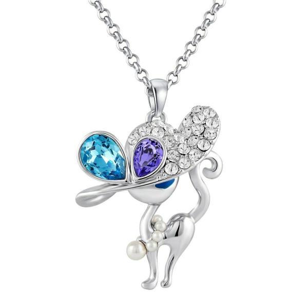 ネックレス スワロフスキー キャペリンキャット FAPPAC Simulated Pearl Cat Necklaces Enriched with Swarovski Crystal|aurora-and-oasis