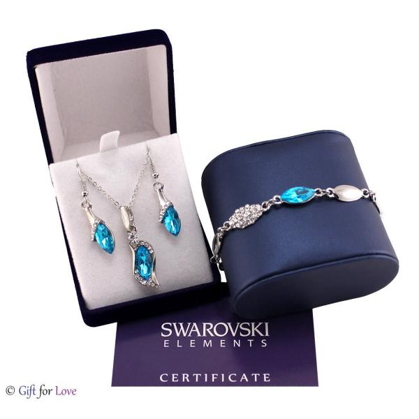 セット スワロフスキー ストーンシルバー  Set parure + bracciale argento Swarovski Element originale G4Lov cristalli donna GS08 aurora-and-oasis