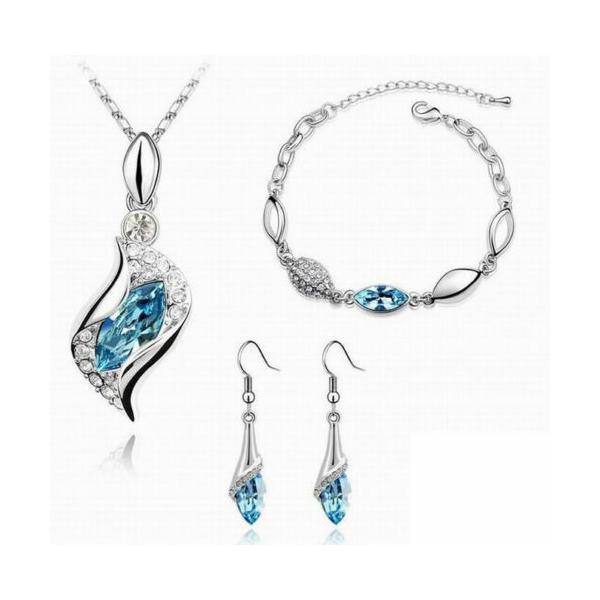 セット スワロフスキー ストーンシルバー  Set parure + bracciale argento Swarovski Element originale G4Lov cristalli donna GS08 aurora-and-oasis 02