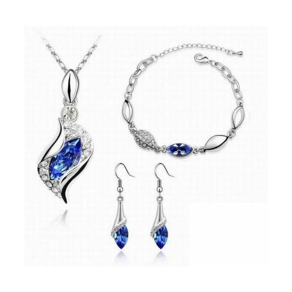 セット スワロフスキー ストーンシルバー  Set parure + bracciale argento Swarovski Element originale G4Lov cristalli donna GS08 aurora-and-oasis 04
