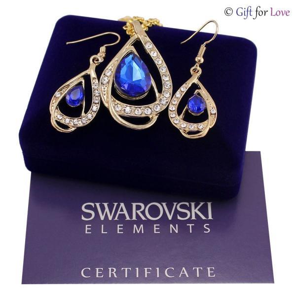 セット スワロフスキー ストーンゴールド Elegante parure oro Swarovski Element originale G4Lov cristalli blu goccia donna GS09|aurora-and-oasis