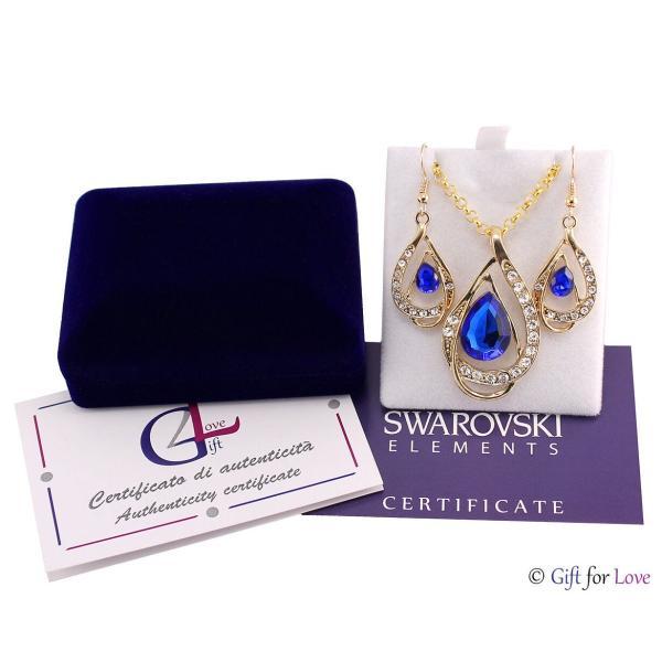 セット スワロフスキー ストーンゴールド Elegante parure oro Swarovski Element originale G4Lov cristalli blu goccia donna GS09|aurora-and-oasis|02