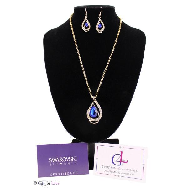 セット スワロフスキー ストーンゴールド Elegante parure oro Swarovski Element originale G4Lov cristalli blu goccia donna GS09|aurora-and-oasis|03