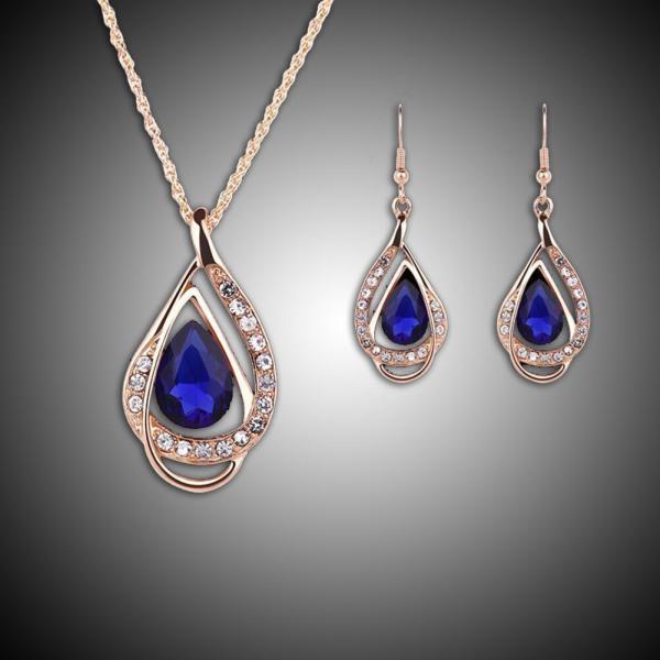 セット スワロフスキー ストーンゴールド Elegante parure oro Swarovski Element originale G4Lov cristalli blu goccia donna GS09|aurora-and-oasis|04