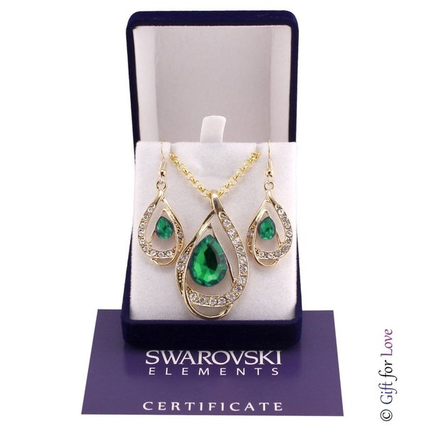セット スワロフスキー ストーンゴールド Elegante parure oro Swarovski Element originale G4Lov cristalli blu goccia donna GS09|aurora-and-oasis|07