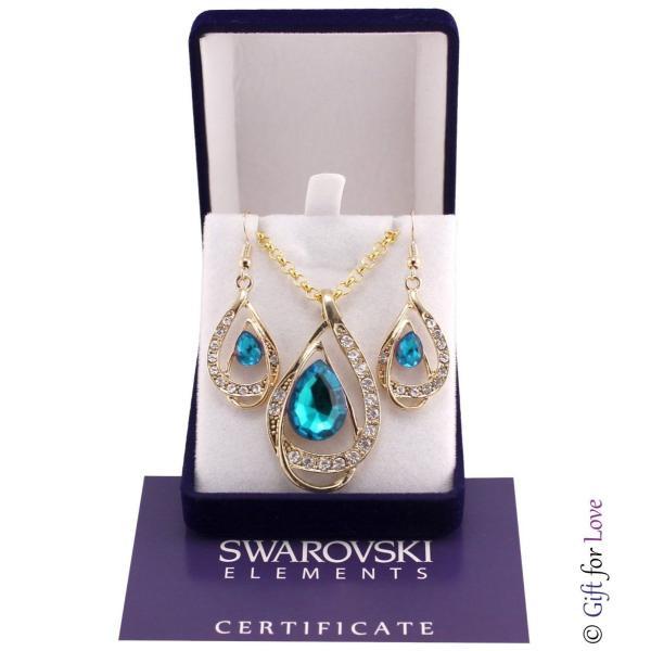 セット スワロフスキー ストーンゴールド Elegante parure oro Swarovski Element originale G4Lov cristalli blu goccia donna GS09|aurora-and-oasis|08