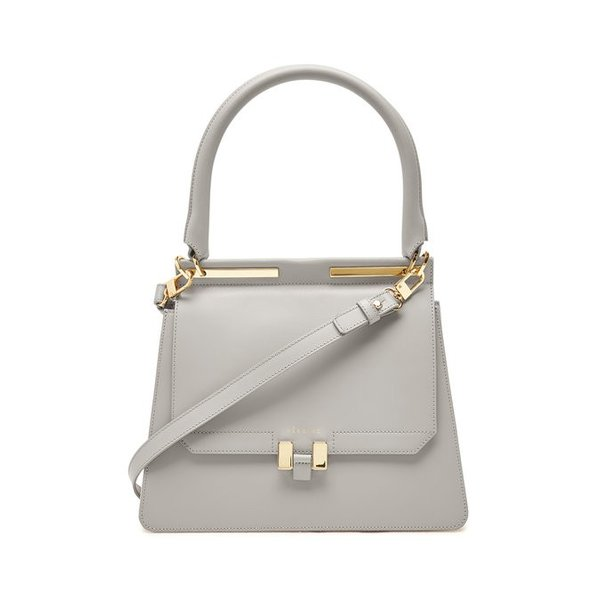 Maison Heroine メゾン ヒロイン ハンドバッグ グレー Marlene Tablet Leather and Suede Handbag|aurora-and-oasis