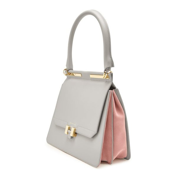 Maison Heroine メゾン ヒロイン ハンドバッグ グレー Marlene Tablet Leather and Suede Handbag|aurora-and-oasis|03