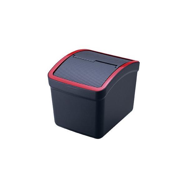 おもり付ゴミ箱 カーボン調 レッド DZ309|autobacs