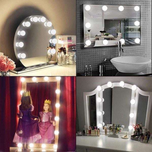 SALE&送料無料 女優ライト ミラーライト ドレッサーライト メイクアップ 化粧鏡 10個LED電球 USB給電 浴室鏡 化粧鏡 ライト ASK-042|avenir7|03