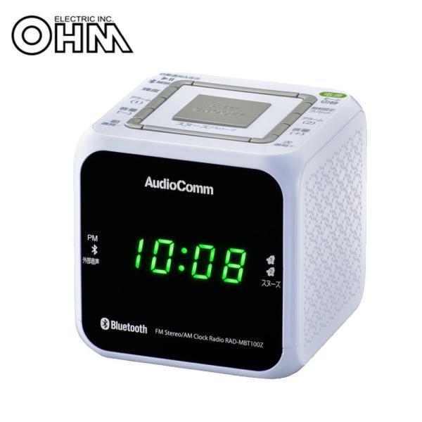 OHM AudioComm Bluetooth クロックラジオ ホワイト RAD-MBT100Z-W