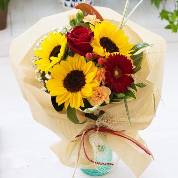 父の日 ギフト プレゼント 贈り物 花束 夏 誕生日 記念日 ひまわり 花瓶付き そのまま飾れるひまわり入り花束|avonlea|02