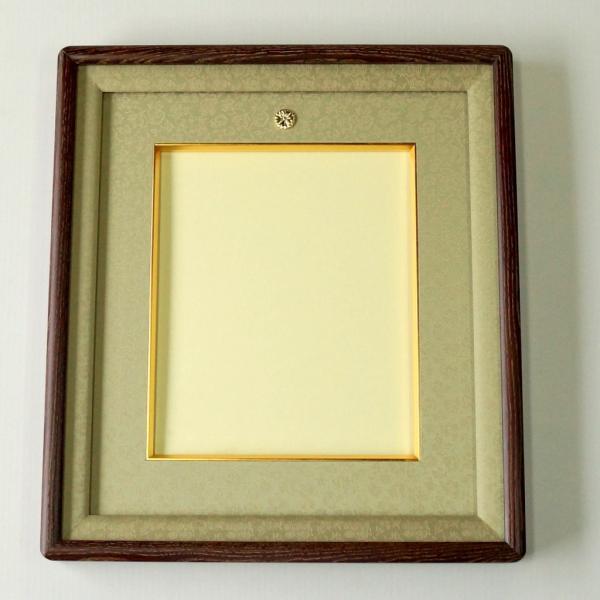 女桑皇居受章記念写真額四つ切サイズ 木目を生かし、品のある優しさ、いつまでも飽きないように仕上げた額縁です。|awajigaku