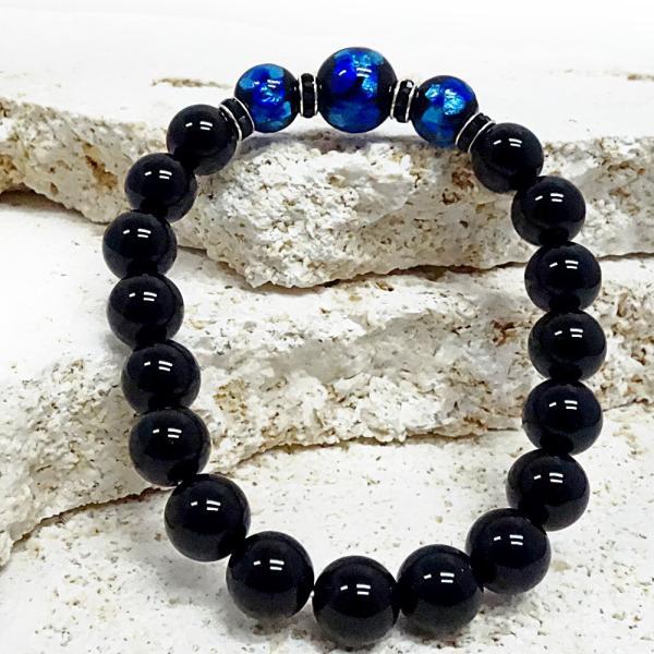 暗闇で光るホタルガラス12、10mm&オニキスのブレスレット(サイS,M,,L,、LL) ほたるガラス、ほたる石、ほたる玉