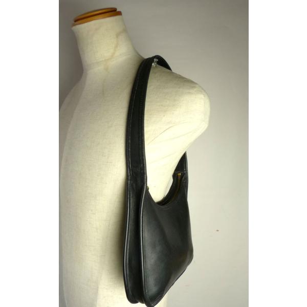 USA製オールドコーチ 本革レザー ハンドバッグ/トートバッグ  OLD COACH (黒/ブラック)