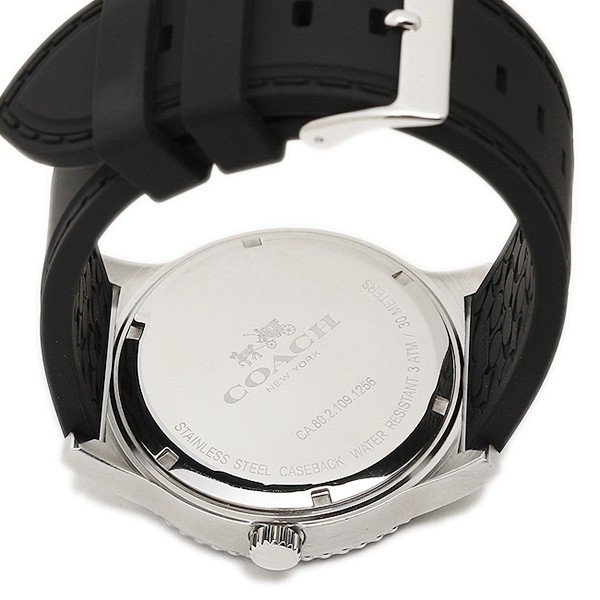 2c3ff40e1ca1 ブルー シルバー メンズ コーチ ブラック アウトレット 腕時計 COACH W5015 F3A