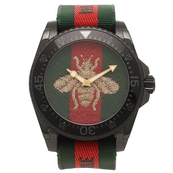 new product 4a339 54b0a 「P10%還元 9/15 0~24時マデ」 グッチ 腕時計 メンズ GUCCI YA136216 458987 I86P0 8766 グリーン レッド  グリーンウェブ
