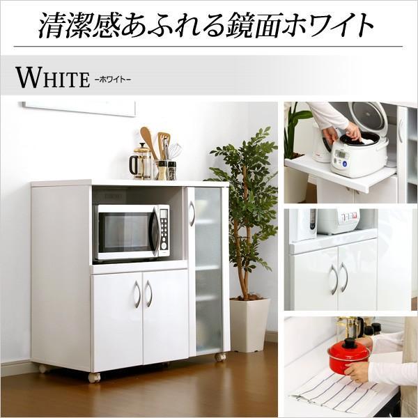 ホワイト鏡面仕上げのキッチンレンジ台 -NewMilano-ニューミラノ (90cm×90cmサイズ)|axisnet|03