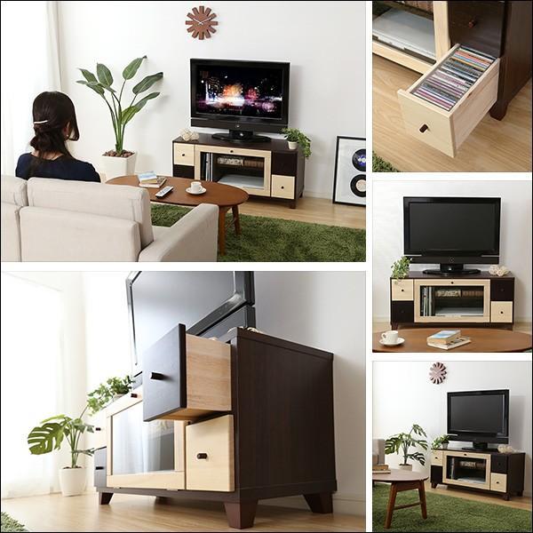 完成品TVボード prier-プリエ- (幅101cm 国産 テレビ台 完成品 ツートンカラー 桐) axisnet 03