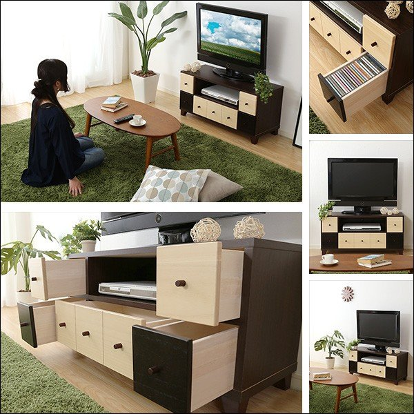 完成品TVボード prier-プリエ- (幅93cm 国産 テレビ台 完成品 ツートンカラー 桐)|axisnet|03
