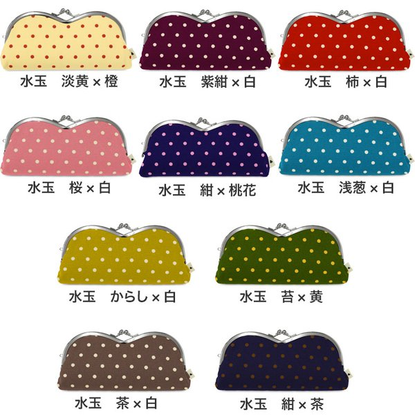 山型がま口メガネケース 帆布・唐草 水玉  在庫商品|ayano-koji|02