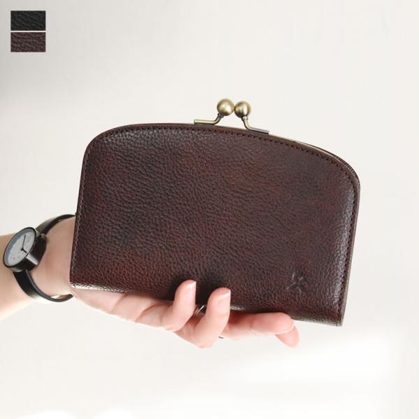 【在庫商品】がま口二つ折りラウンド財布【X_LEATHER WALLET(N)】|ayano-koji
