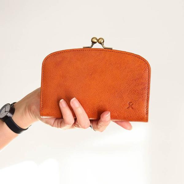 【在庫商品】がま口二つ折りラウンド財布【X_LEATHER WALLET(N)】|ayano-koji|04