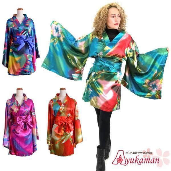 0c5a22fdcdb05 グラデーションサテン着物ドレス 着物 レディース 大きいサイズ よさこい衣装 和柄 和風着物ドレス 着物