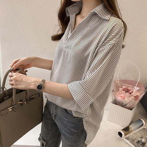 ブラウスレディース七分袖40代20代オフィス夏おしゃれ韓国風トップスシャツストライプきれいめ大きいサイズカジュアル大人通勤上品着