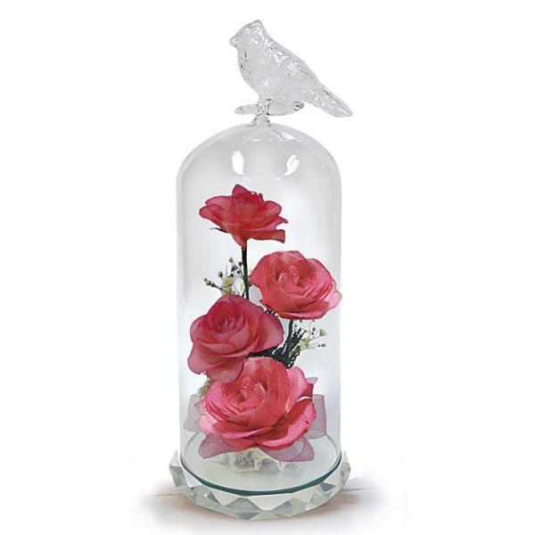 ボトルフラワー/トリのモチーフ台座付きM/ピンク/ドライフラワー 花 天然色 おしゃれ 枯れない 飾り 華やか 高級 誕生日 祝い ギフト 母 祖母|ayuwara