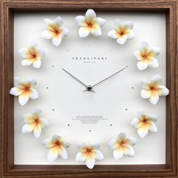 時計/プルメリア クロック/掛け時計 ウォールクロック インテリア 壁掛け ギフト プレゼント 新築祝い おしゃれ 飾る かわいい アート ハワイアン 造花