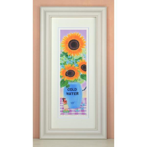 絵画 壁掛け sunflower 栗乃木ハルミ・くりのきはるみ 絵画 壁掛け 壁飾り インテリア 油絵 花 アートパネル ポスター 絵 額入り リビング 玄関