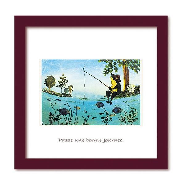 アートフレーム ゆうパケット Atelier Flower Horizon  Fishing frog/絵画 壁掛け 壁飾り インテリア 油絵 花 アートパネル ポスター 絵 額入り リビング 玄関|ayuwara