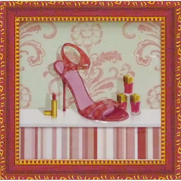 ミニゲル アートフレーム/ゆうパケット キャロライン フィスク 「コーラル ピンク シュー1」|ayuwara