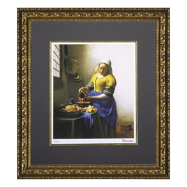 絵画/フェルメール「牛乳を注ぐ少女」/絵画 壁掛け 壁飾り インテリア 油絵 花 アートパネル ポスター 絵 額入り リビング 玄関|ayuwara