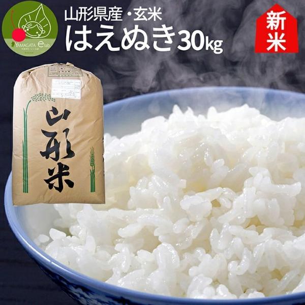 令和2年産新米 お米 はえぬき 30kg   玄米 山形県産 米 こめ ポイント消化 産地直送
