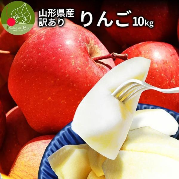 りんご 訳あり 10kg 果物 ふじ 送料無料 山形県産 産地直送 リンゴ サンふじ ご家庭用|azimiya