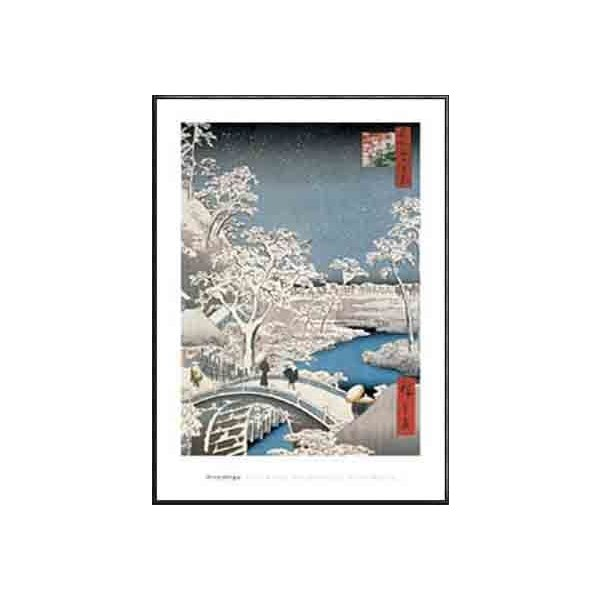 ポスター アート 名所江戸百景 目黒太鼓橋夕日の岡 Drum Bridge at Meguro(ウタガワ ヒロシゲ) 額装品 アルミ製ハイグレードフレーム