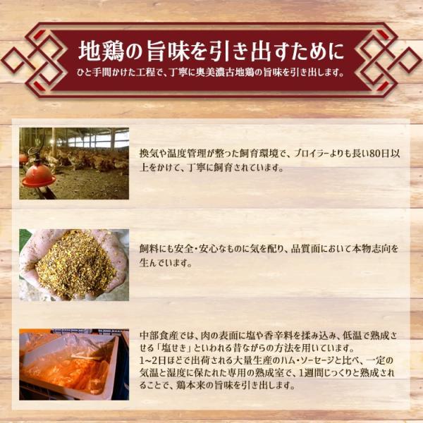 ギフト 奥美濃古地鶏ハム Aセット ハム・ハム 醤油味 むねパストラミ 砂肝燻製 ミールキット レンチン|azusaya|06