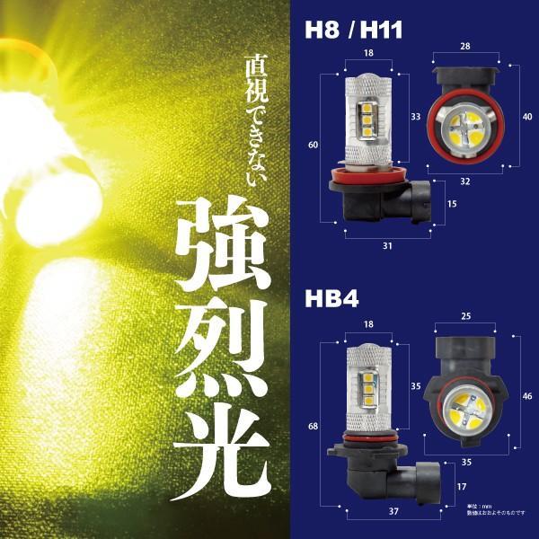 LED フォグランプ バルブ H11 48w/12V イエロー/EPISTAR プロジェクターレンズ フォグ|azzurri|05