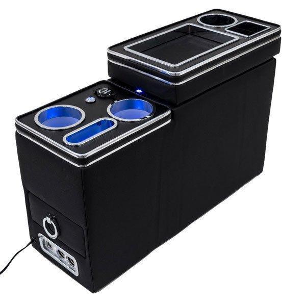 (予約) ホンダ ステップワゴン/スパーダ RK1/RK2/RK5/RK6 ミニバン向け センターコンソールボックス USBソケット シガーソケット ブルーLED付き 多機能