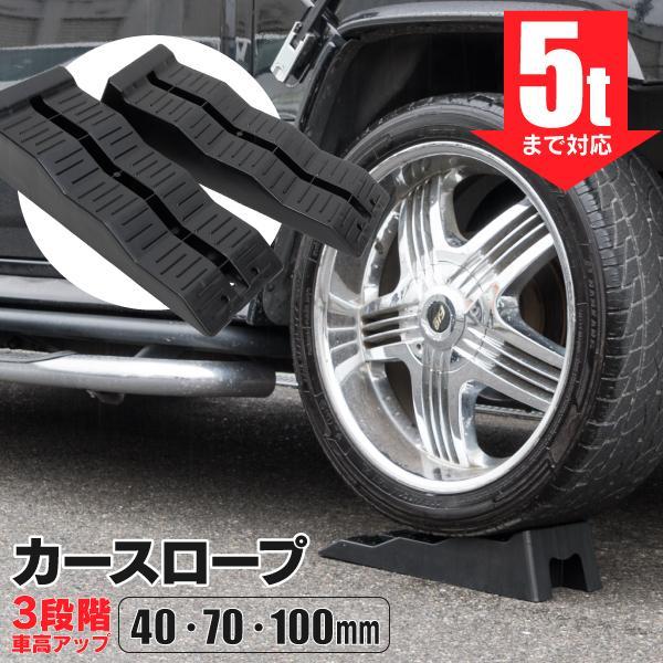 (セール) カースロープ カー スロープ 4cm/7cm/10cm 3段階 耐荷重5t ジャッキアップ補助 タイヤスロープ ジャッキサポート リフトアップ 2個1セット