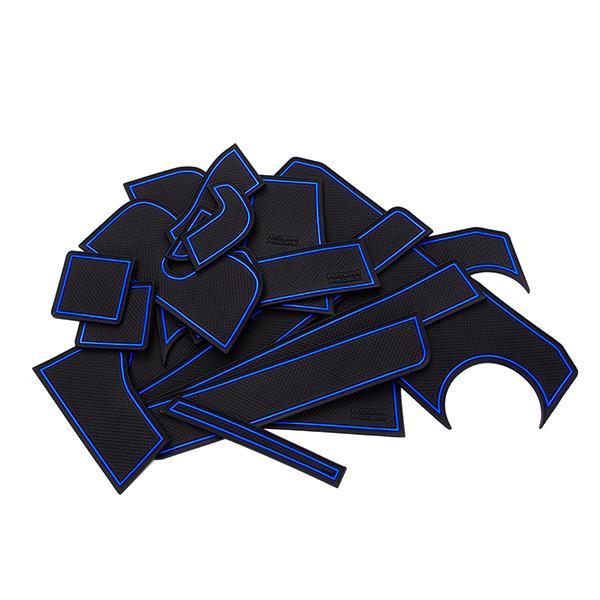 クロスビー MN71S ドア ポケット マット/シート 滑り止め (新型ラバーマット) ブルー  18P 車種専用設計|azzurri