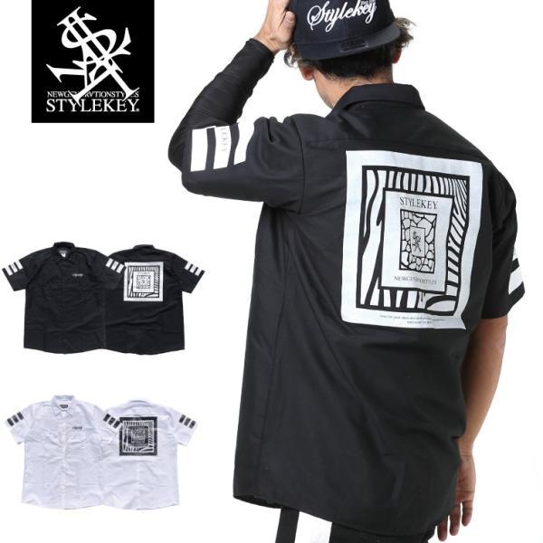 STYLEKEY スタイルキー 半袖シャツ CAPTURE S/S SHIRT(SK19SP-BL01) ストリート系 B系 大きいサイズ|b-bros