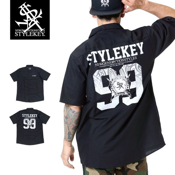 STYLEKEY スタイルキー 半袖シャツ VIGOR 99 S/S SHIRT(SK19SU-BL02) ストリート系 B系 大きいサイズ|b-bros